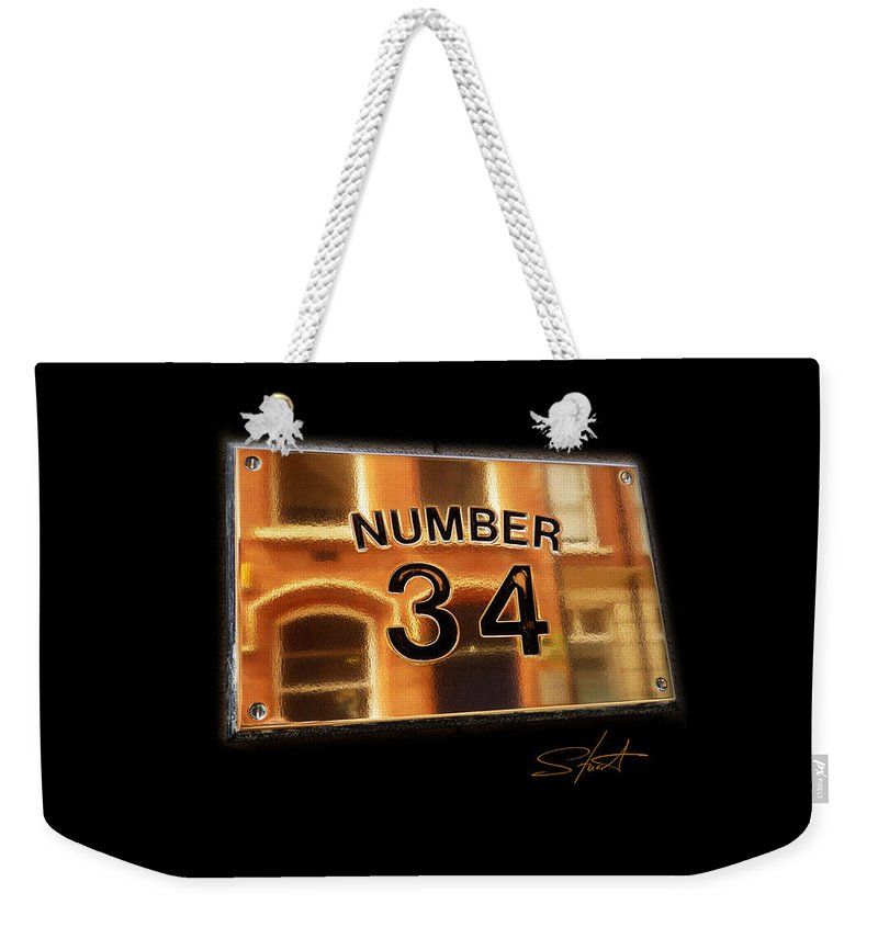 Number Weekender Tote Bag featuring the photograph Number 34 by Charles Stuart