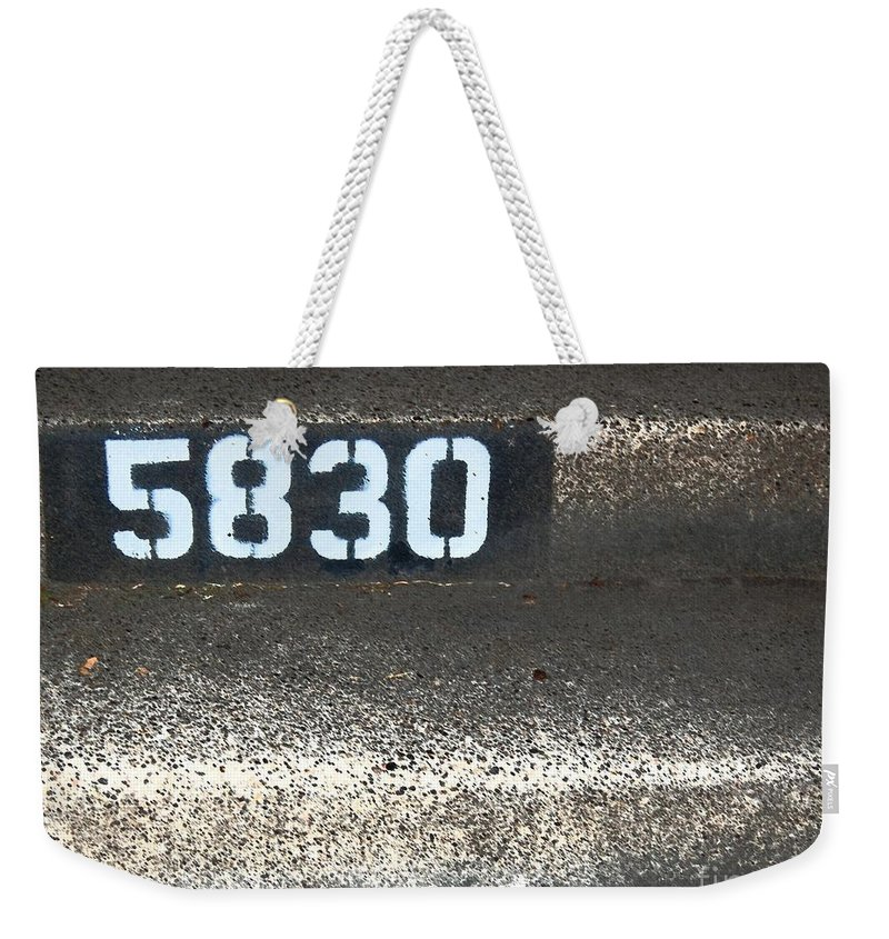 Numbers Weekender Tote Bag featuring the photograph Numbers by Debbi Granruth