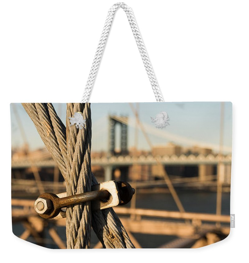Brooklyn Bridge Weekender Tote Bag featuring the photograph Nuts And Bolts Of The Brooklyn Bridge by Alissa Beth Photography