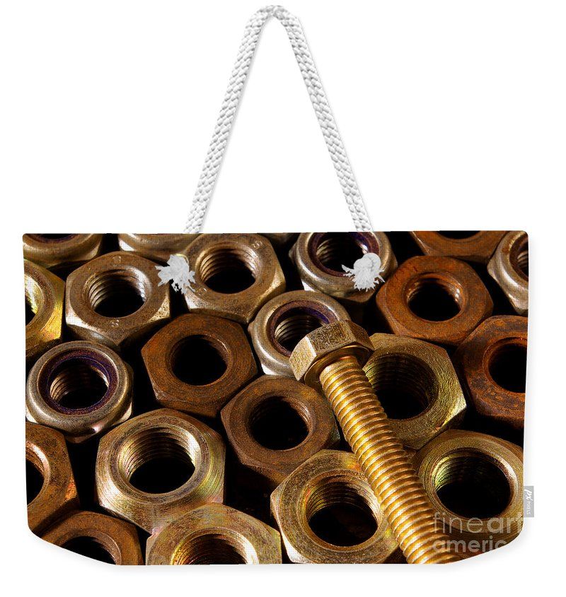 Aged Weekender Tote Bag featuring the photograph Nuts And Screw by Carlos Caetano
