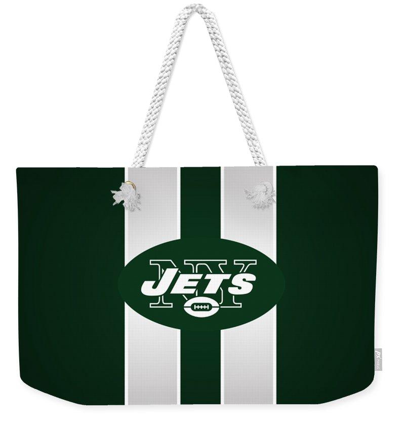 Ny Jets Football Weekender Tote Bag featuring the photograph Ny Jets Football by Mitro Dente