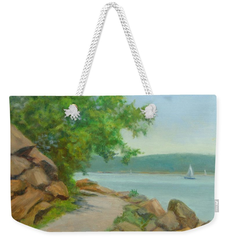 Oil Landscape Weekender Tote Bag featuring the painting Nyack Trail Along The Hudson by Phyllis Tarlow