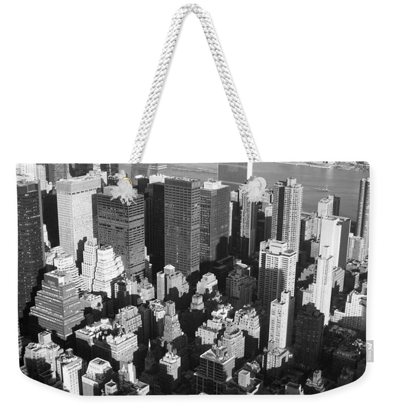 Nyc Weekender Tote Bag featuring the photograph Nyc Bw by Anita Burgermeister