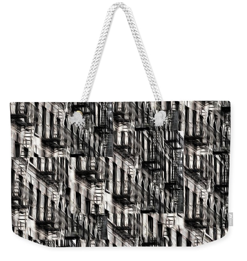 Building Weekender Tote Bag featuring the photograph Nyc Fire Escapes by Edward Fielding