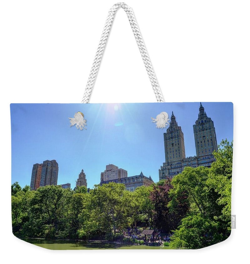 Central Park Weekender Tote Bag featuring the photograph Nyc From Central Park by Bob Cuthbert