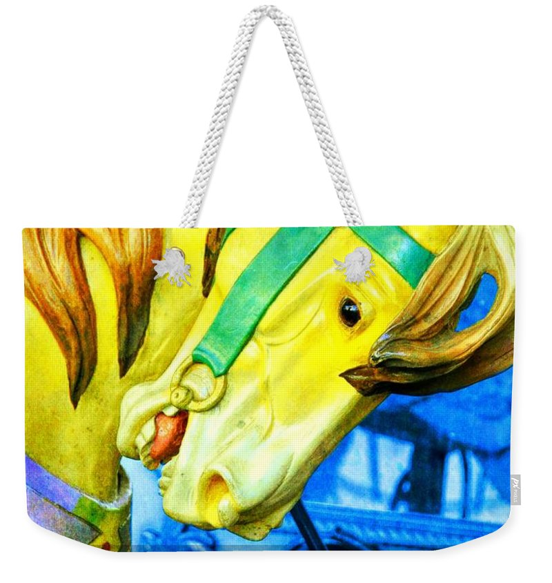 Horse Weekender Tote Bag featuring the photograph Nyc Golden Steed Quote by JAMART Photography