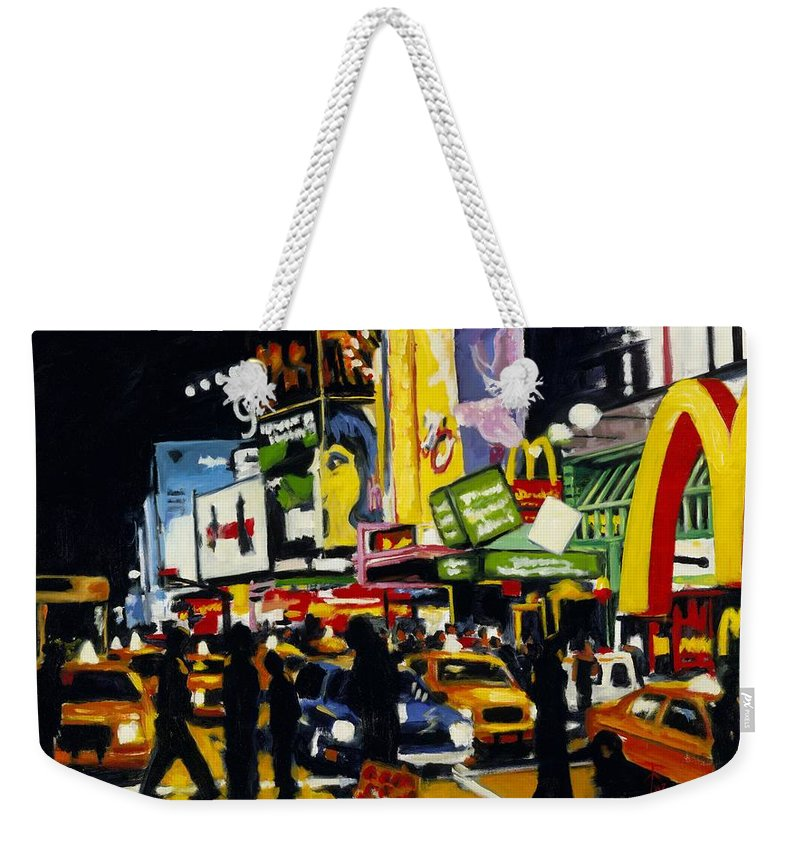 New York Weekender Tote Bag featuring the painting NYC II The Temple of M by Robert Reeves