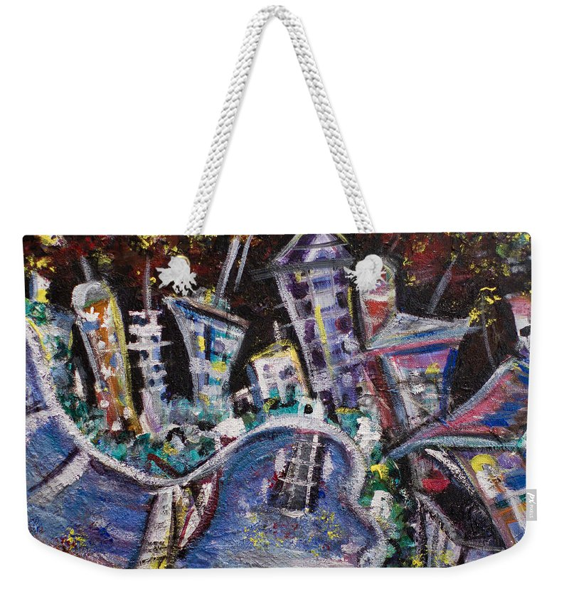 New York City Manhattan Hudson River Weekender Tote Bag featuring the painting Nyc Impressions 2 by Jason Gluskin