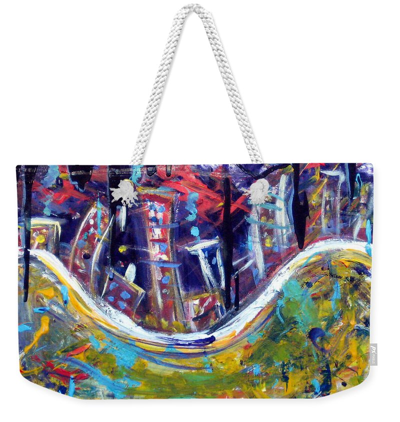 New York City Manhattan Hudson River Weekender Tote Bag featuring the painting Nyc Impressions 4 by Jason Gluskin