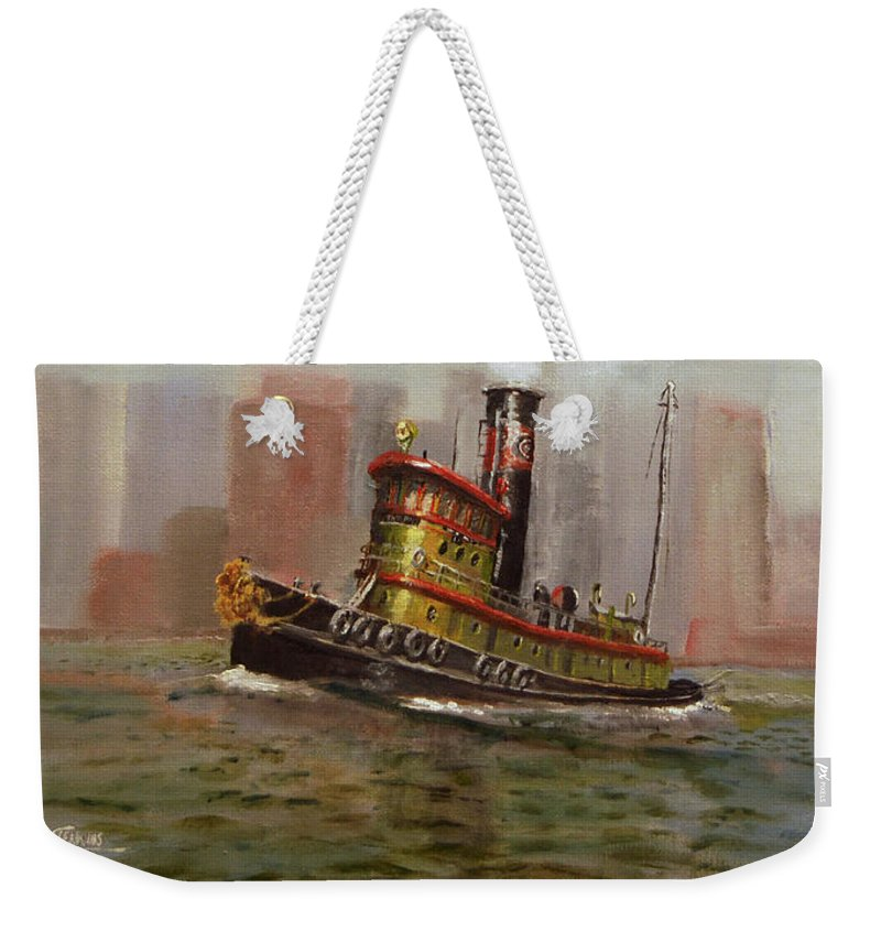 Tug Weekender Tote Bag featuring the painting Nyc Tug by Christopher Jenkins