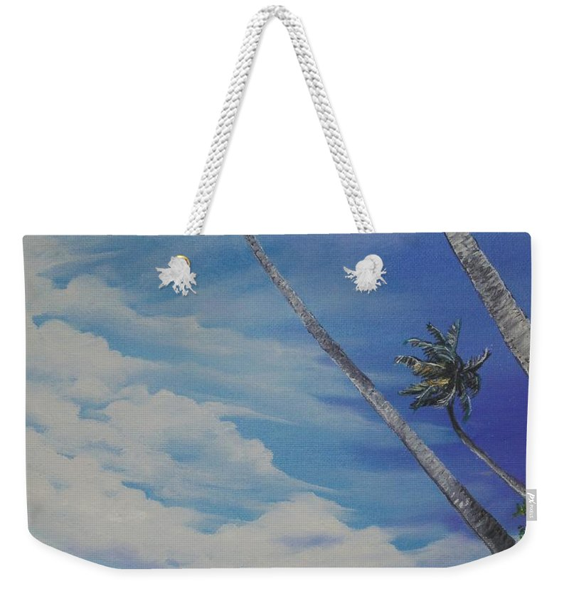 Ocean Painting Seascape Painting Beach Painting Palm Tree Painting Clouds Painting Tobago Painting Caribbean Painting Sea Beach T Obago Palm Trees Weekender Tote Bag featuring the painting Nylon Pool Tobago. by Karin Dawn Kelshall- Best