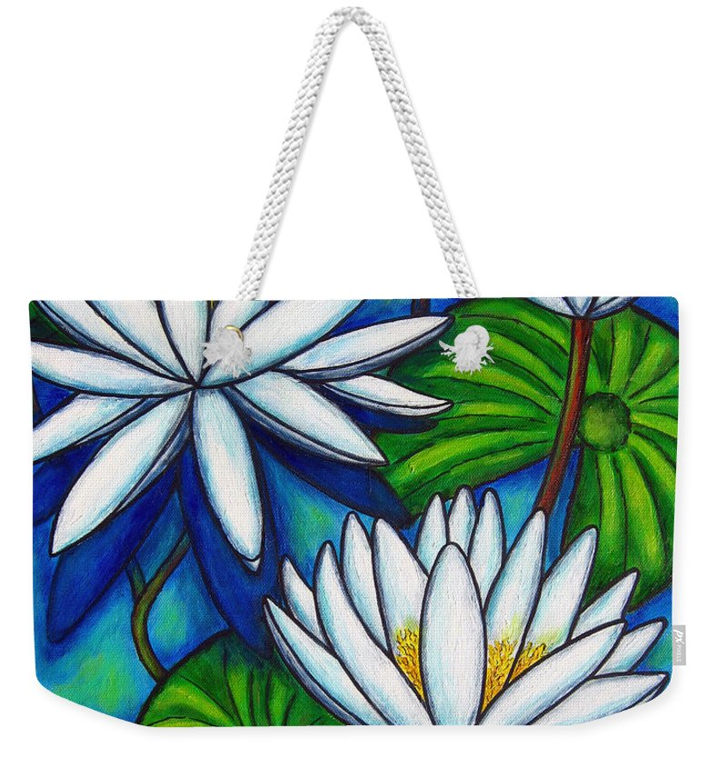 Lily Weekender Tote Bag featuring the painting Nymphaea Blue by Lisa Lorenz