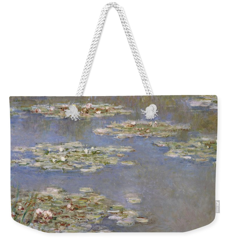 French Weekender Tote Bag featuring the painting Nympheas by Claude Monet