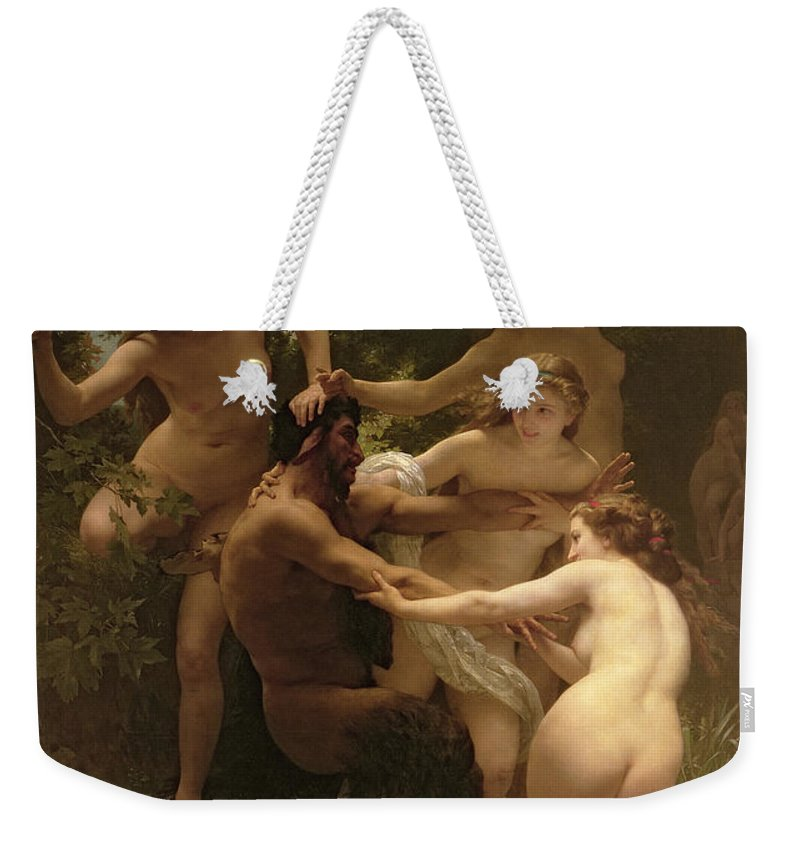 Nymphs And Satyr Weekender Tote Bag featuring the painting Nymphs And Satyr by William Adolphe Bouguereau