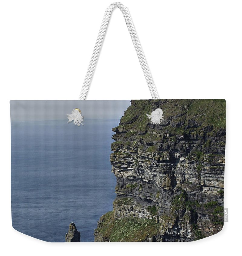 Irish Weekender Tote Bag featuring the photograph O Brien's Tower At The Cliffs Of Moher Ireland by Teresa Mucha