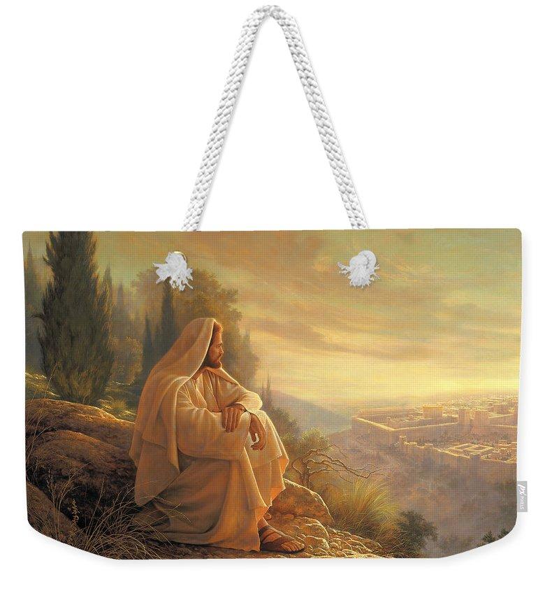 Esus Weekender Tote Bag featuring the painting O Jerusalem by Greg Olsen