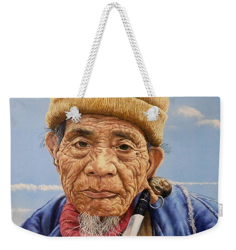 Old Man Weekender Tote Bag featuring the painting O Mr Mountain Baguio by Christopher Shellhammer