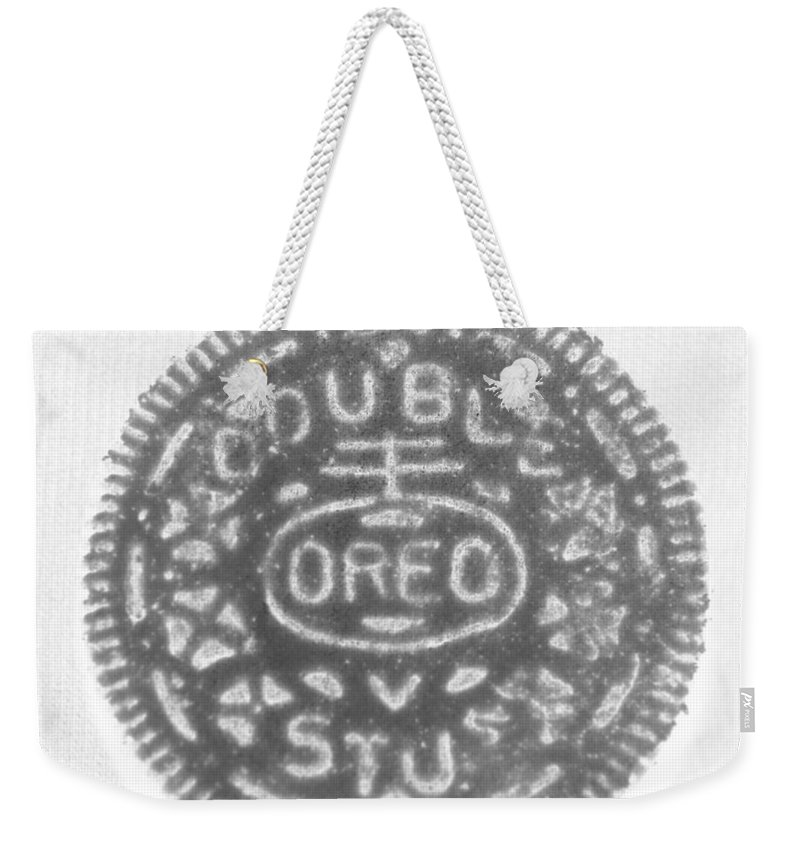 Oreo Weekender Tote Bag featuring the photograph O R E O In Black Negative by Rob Hans