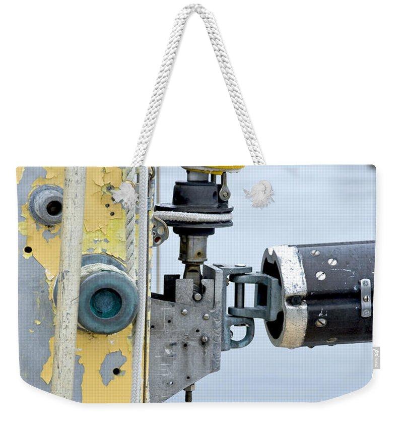 Oak Bluffs Weekender Tote Bag featuring the photograph Oak Bluffs Sailor by Charles Harden