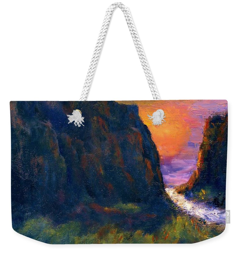 Impressionistic Weekender Tote Bag featuring the painting Oak Creek Canyon by Gail Kirtz