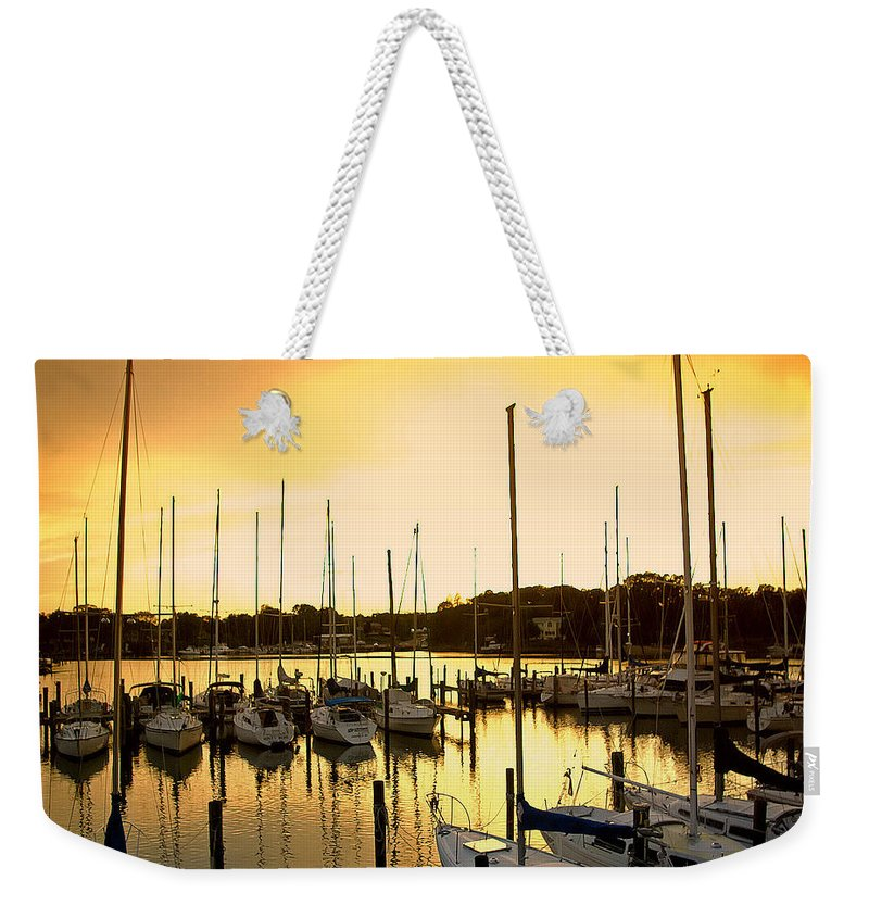 2d Weekender Tote Bag featuring the photograph Oak Point Harbor by Brian Wallace