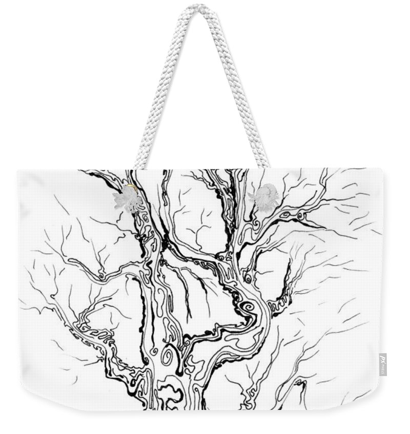 Oak Weekender Tote Bag featuring the painting Oak Tree Abstract Study by Regina Valluzzi