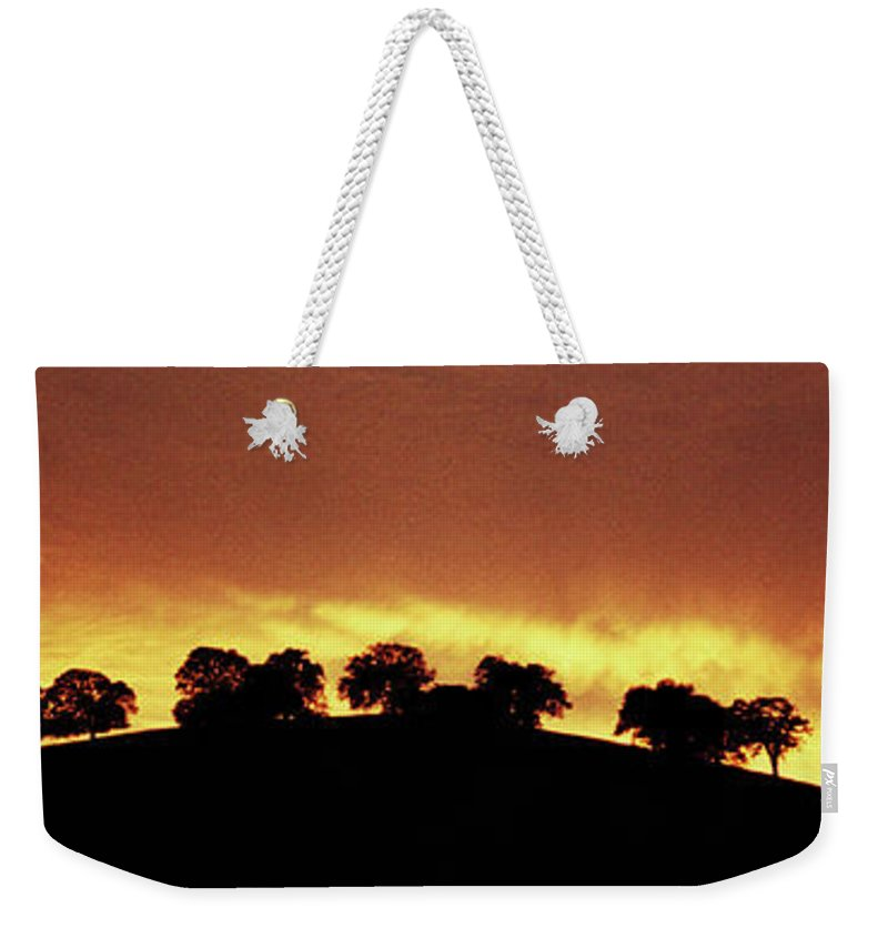 Oak Weekender Tote Bag featuring the photograph Oaks On Hill At Sunset by Jim And Emily Bush