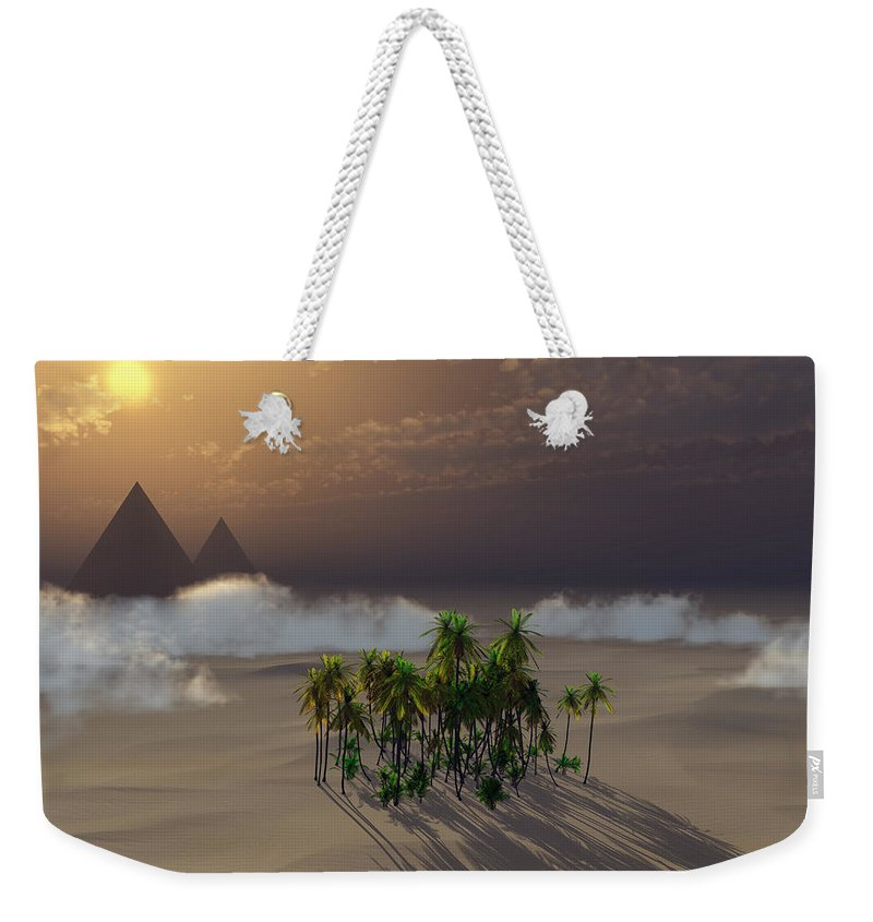 Deserts Weekender Tote Bag featuring the digital art Oasis by Richard Rizzo