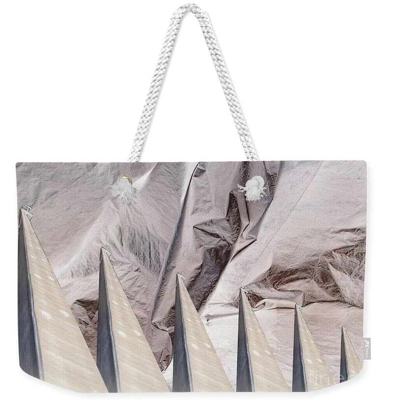 Obelisk Weekender Tote Bag featuring the digital art Obelisks Aligned by Ron Bissett