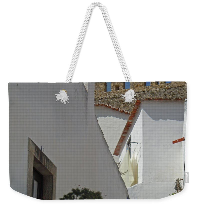 Europe Weekender Tote Bag featuring the photograph Obidos Portugal Walkway by Heather Coen