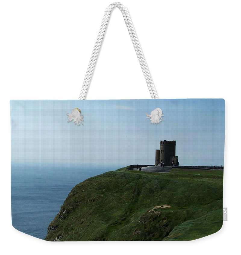 Irish Weekender Tote Bag featuring the photograph O'brien's Tower At The Cliffs Of Moher Ireland by Teresa Mucha