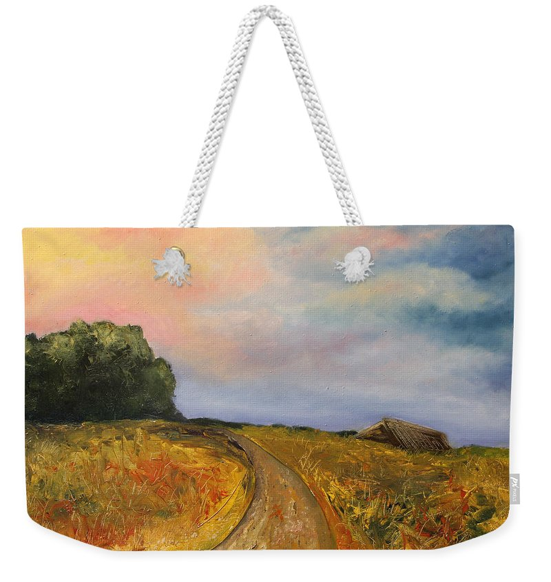 Landscape Weekender Tote Bag featuring the painting Obviously Covered by Darko Topalski
