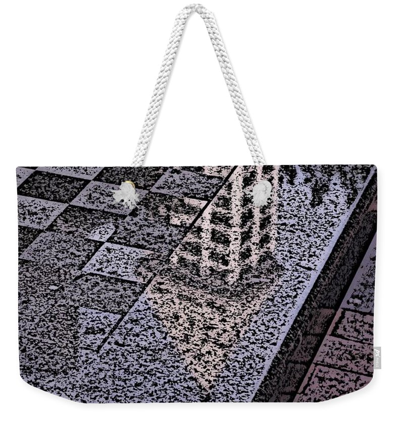 Seattle Weekender Tote Bag featuring the digital art Occidental Park Checkerboard by Tim Allen