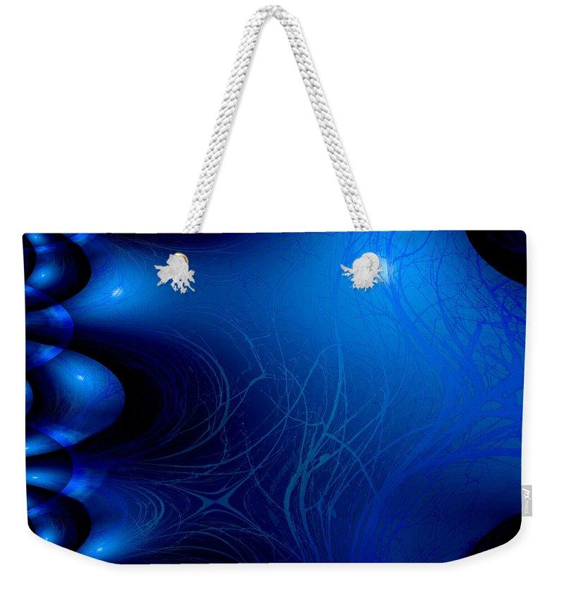 Moon Ocean Plants Water Fractal Blue Lake Sea Imaginary Abstract Weekender Tote Bag featuring the digital art Ocean Away by Andrea Lawrence