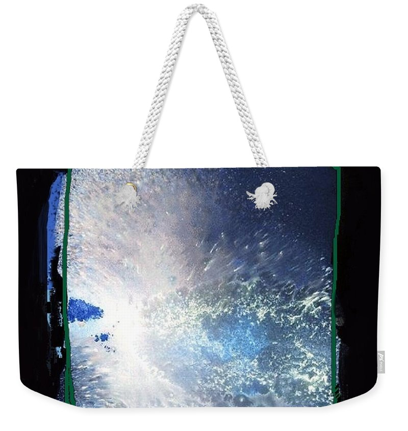 Ocean Weekender Tote Bag featuring the mixed media Ocean - Black And White Abstract by Vesna Antic