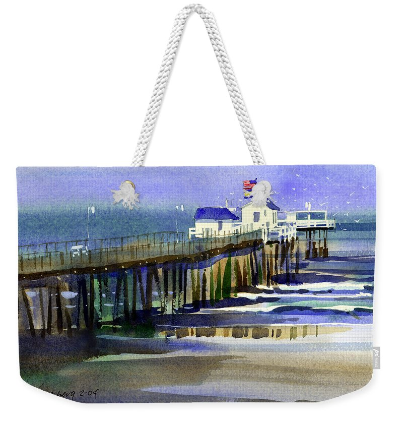 Ocean Weekender Tote Bag featuring the painting Ocean City Fishing Club by Lee Klingenberg