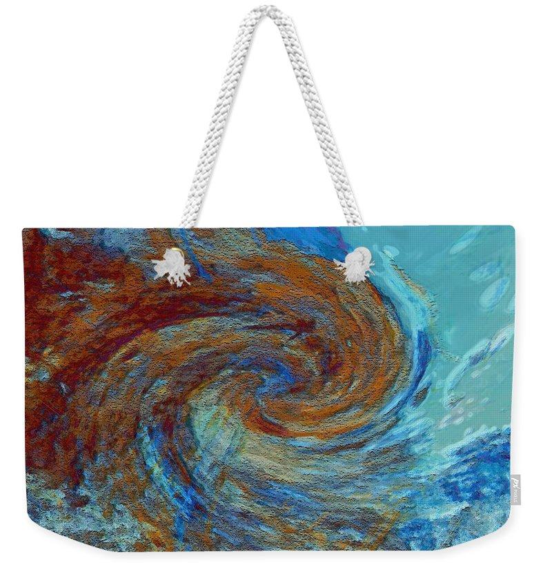 Hurricane Weekender Tote Bag featuring the digital art Ocean Colors by Linda Sannuti