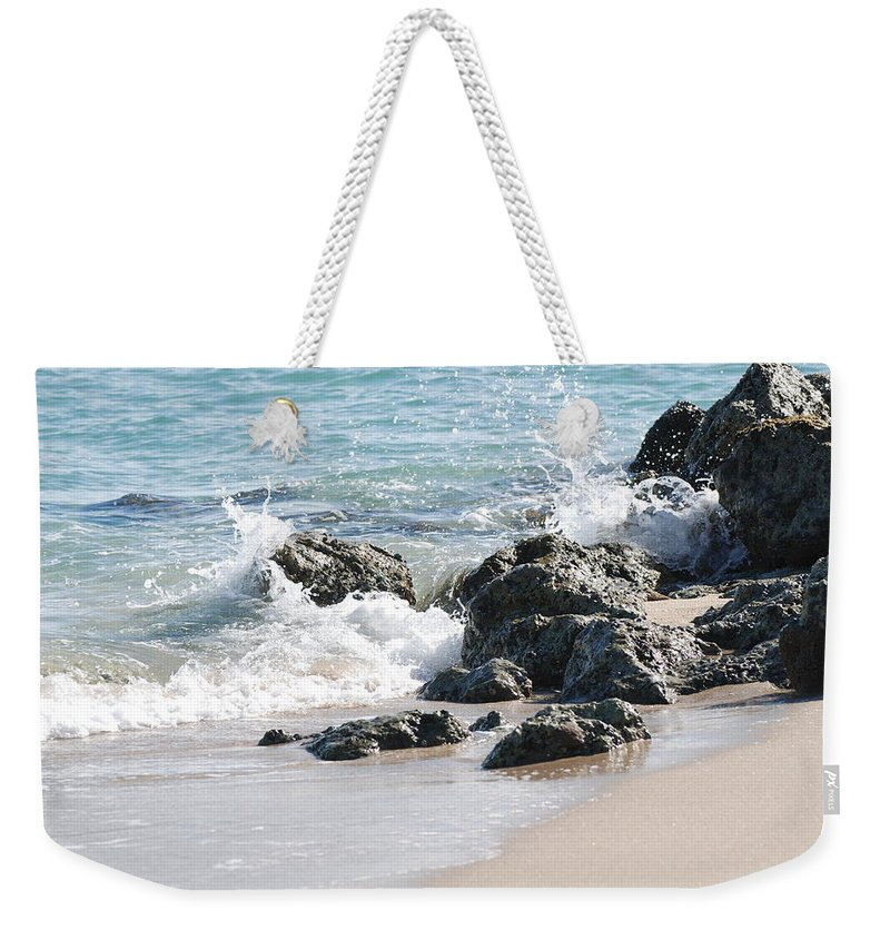 Ocean Weekender Tote Bag featuring the photograph Ocean Drive Rocks by Rob Hans