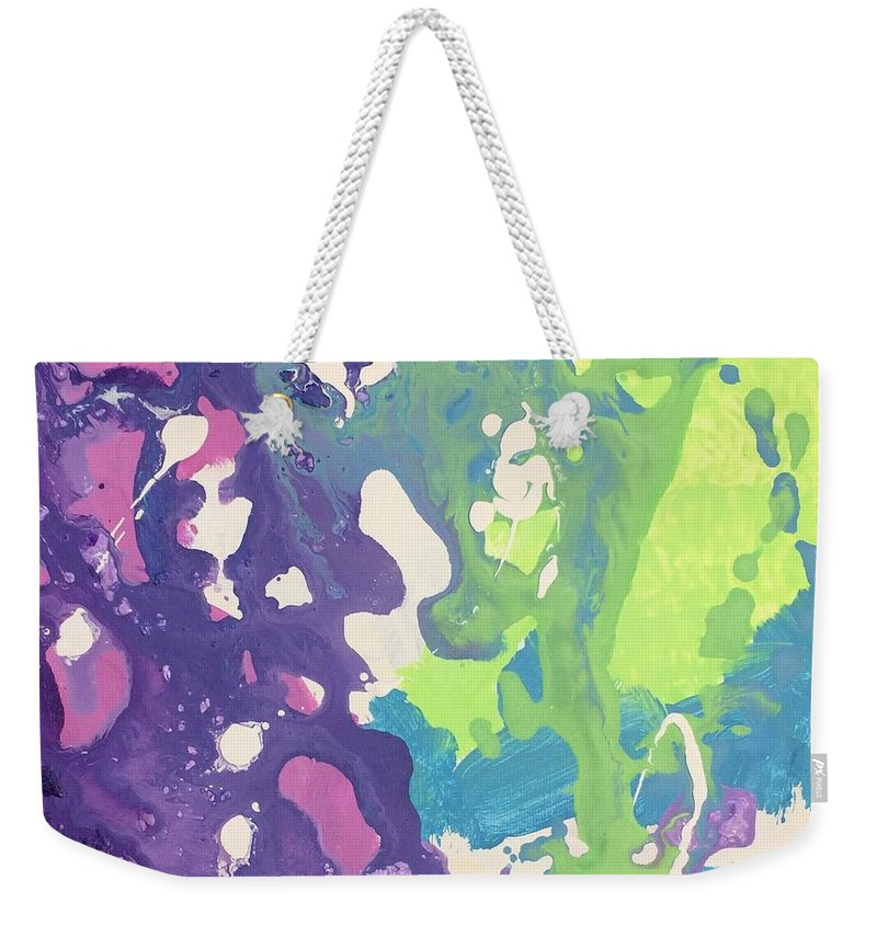 Abstract Weekender Tote Bag featuring the painting Ocean Explosion by Kari Hunt