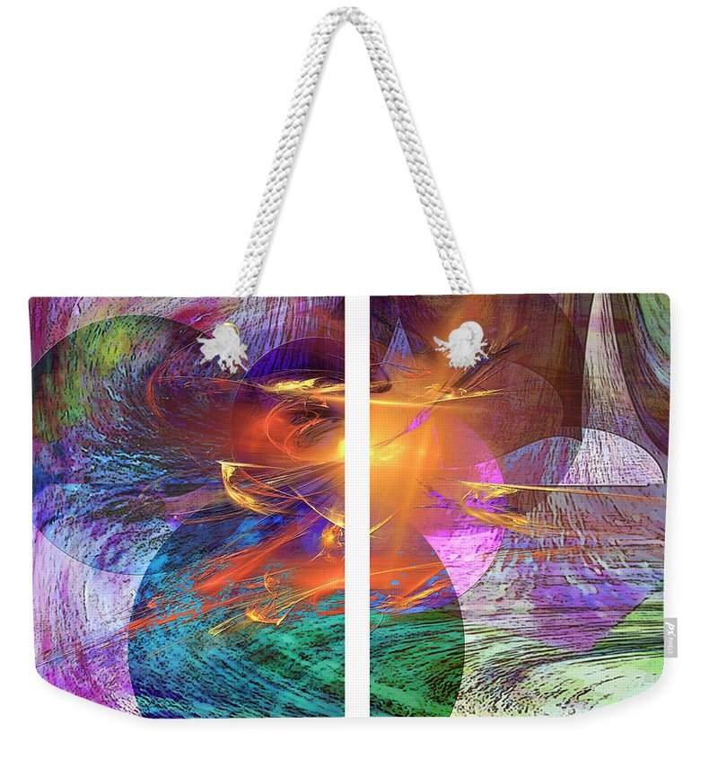 Ocean Fire Weekender Tote Bag featuring the digital art Ocean Fire by John Beck