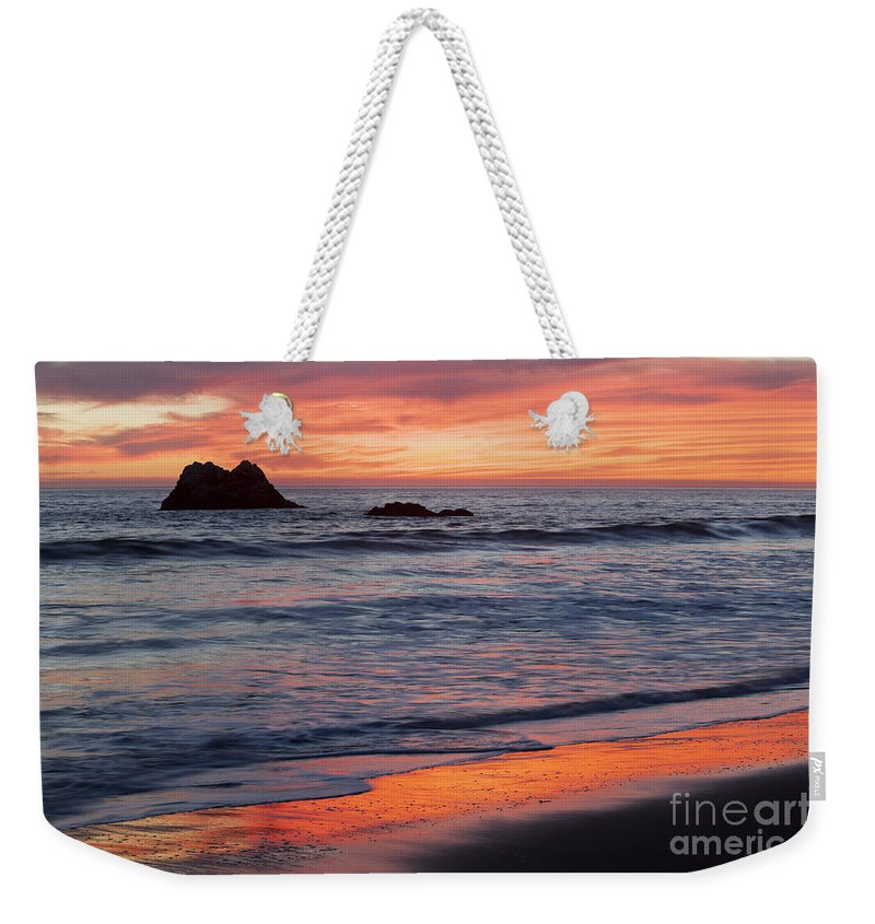 Pacific Ocean Weekender Tote Bag featuring the photograph Ocean Sky Awash In Color by Sharon Foelz