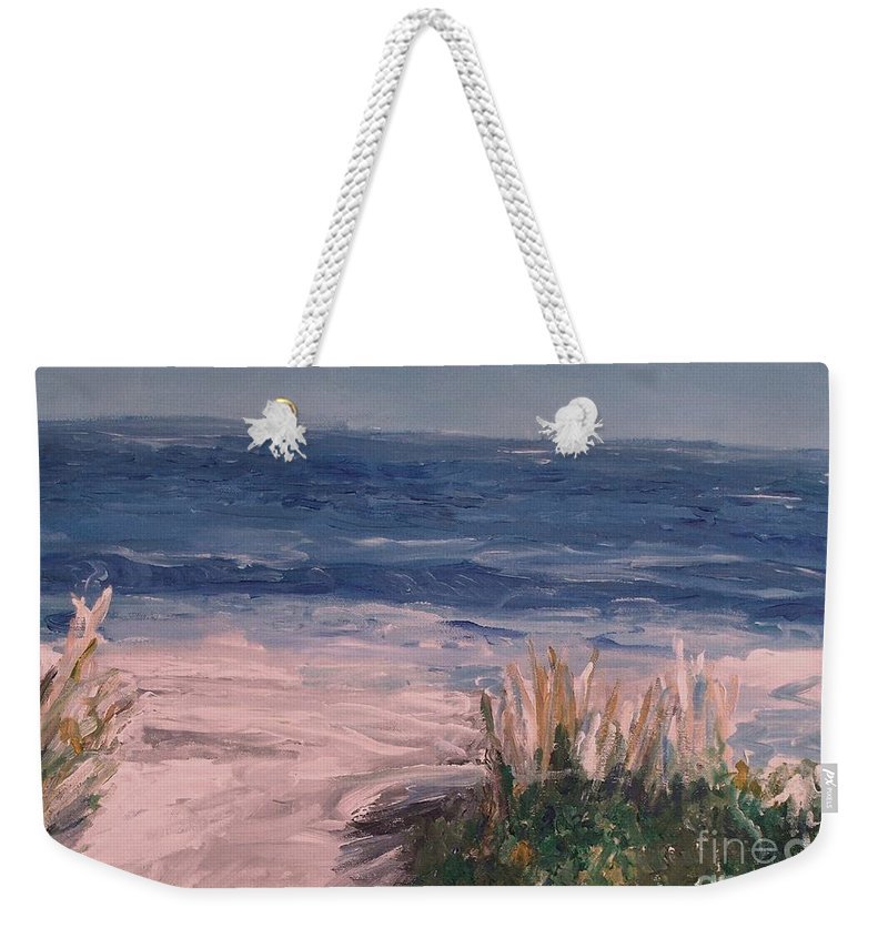 Ocean Weekender Tote Bag featuring the painting Ocean Trail by Eric Schiabor