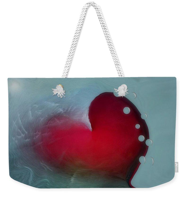 Hearts Weekender Tote Bag featuring the digital art Oceans Heart by Linda Sannuti