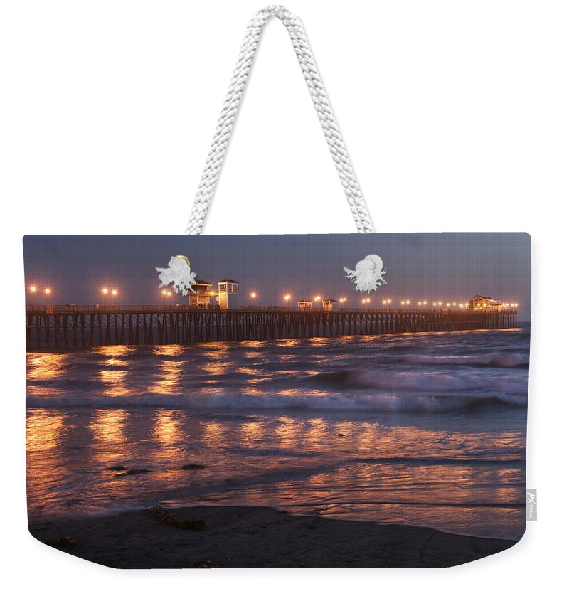 Waterscape Weekender Tote Bag featuring the photograph Oceanside Pier In The Mist by Sandra Bronstein
