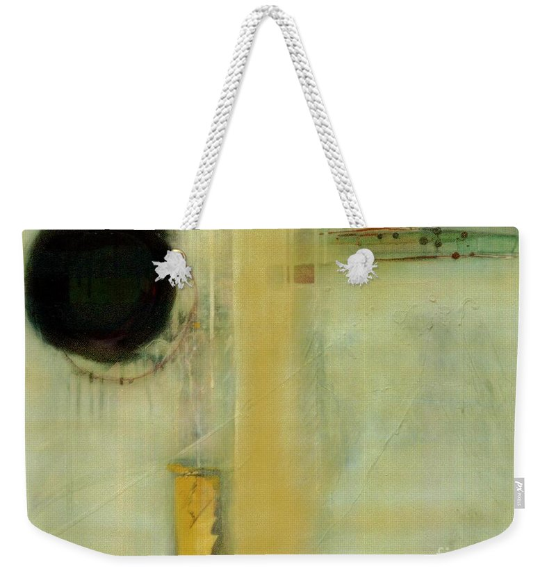 Abstract Weekender Tote Bag featuring the painting Ochre Wash Jump by Marlene Burns