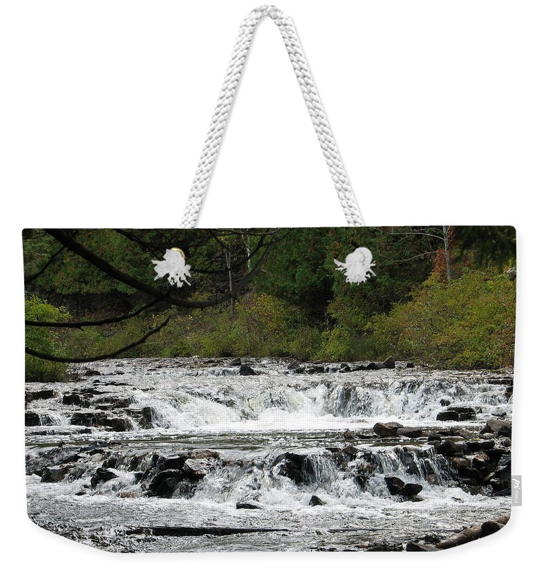 Waterfall Weekender Tote Bag featuring the photograph Ocqueoc by Kelly Mezzapelle