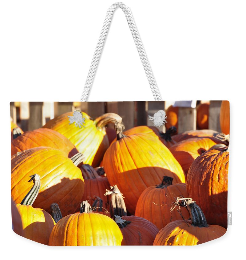 Pumpkins Weekender Tote Bag featuring the photograph October Color by Jan Amiss Photography
