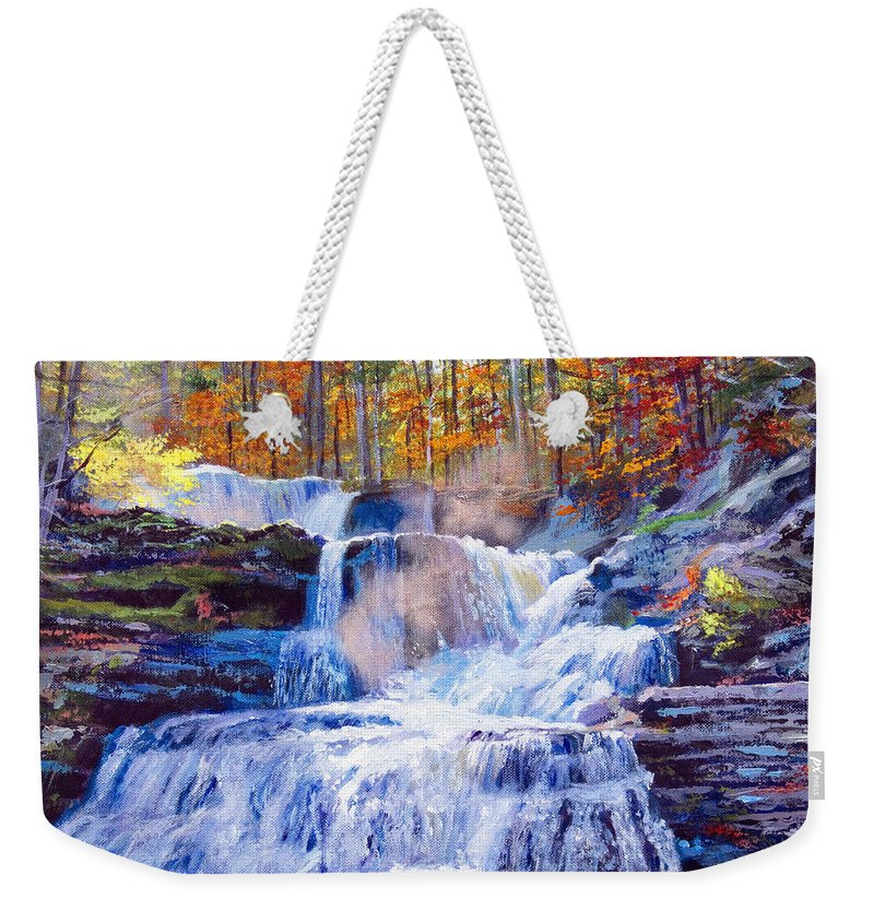 Impressionism Weekender Tote Bag featuring the painting October Falls by David Lloyd Glover