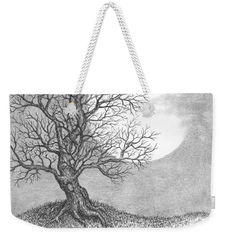 Pen And Ink Weekender Tote Bag featuring the drawing October Moon by Adam Zebediah Joseph