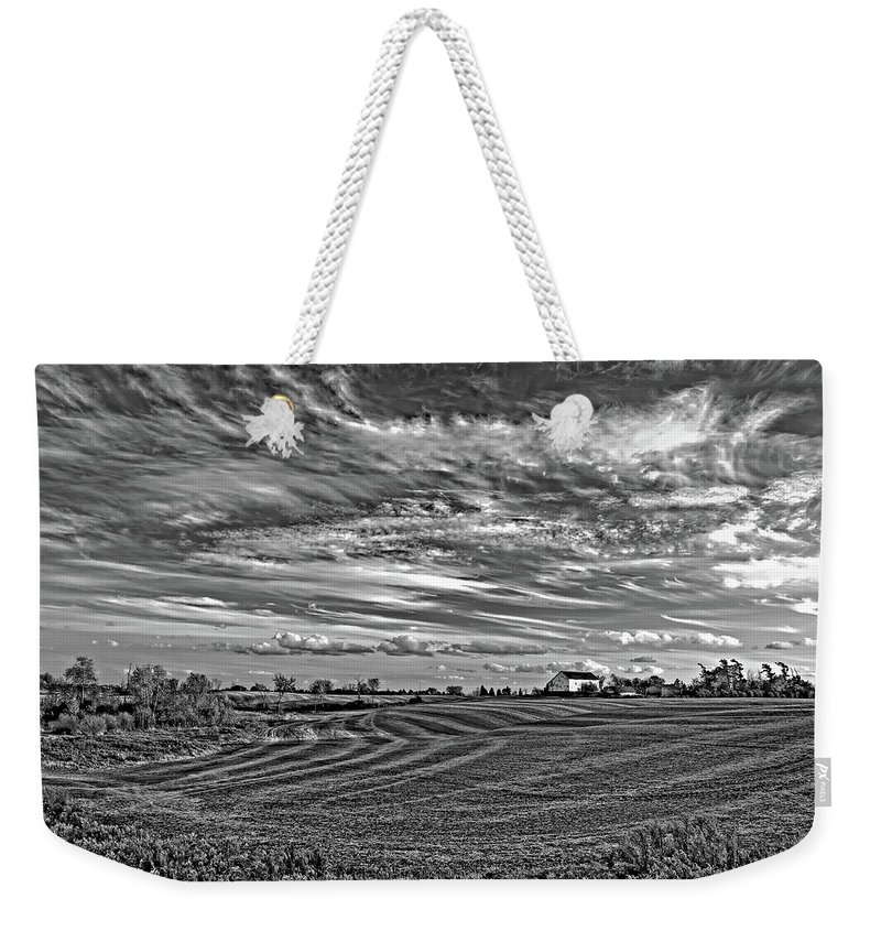 Landscape Weekender Tote Bag featuring the photograph October Patterns Bw by Steve Harrington